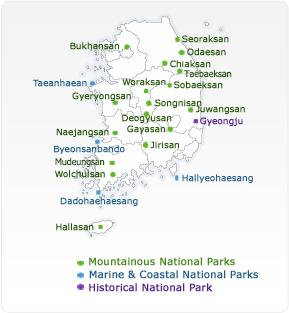 Mapa con todos los parques nacionales de Corea del Sur @ Korea National Parks - Corea del Sur - Viajar - Blog de Alba Vilanova