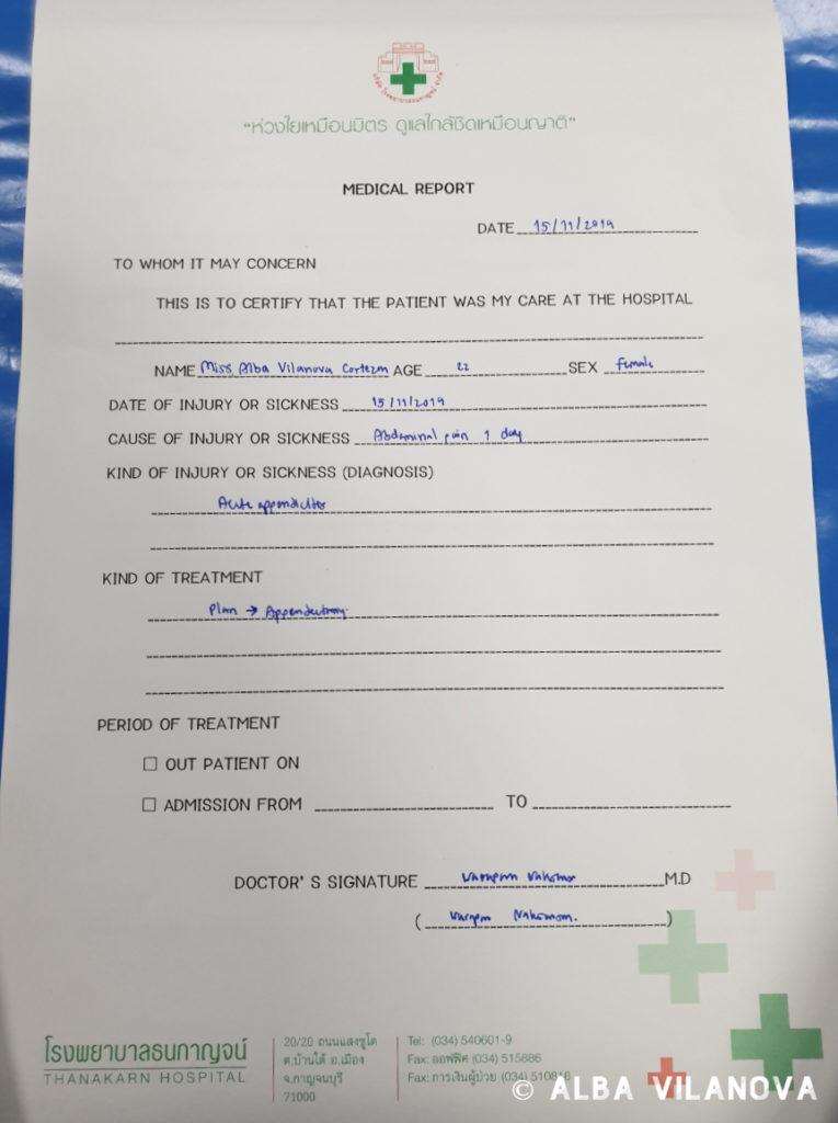El informe médico del hospital - Tailandia - Viajar - Blog de Alba Vilanova