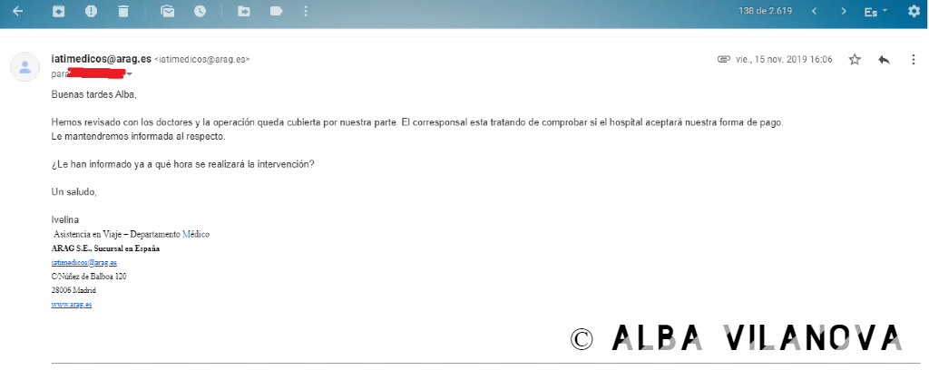 Captura de pantalla del correo en el que IATI Seguros me confirman que me pagaran la operación (Las 16:06 horas en España son las 20:06 horas en Tailandia) - Tailandia - Viajar - Blog de Alba Vilanova