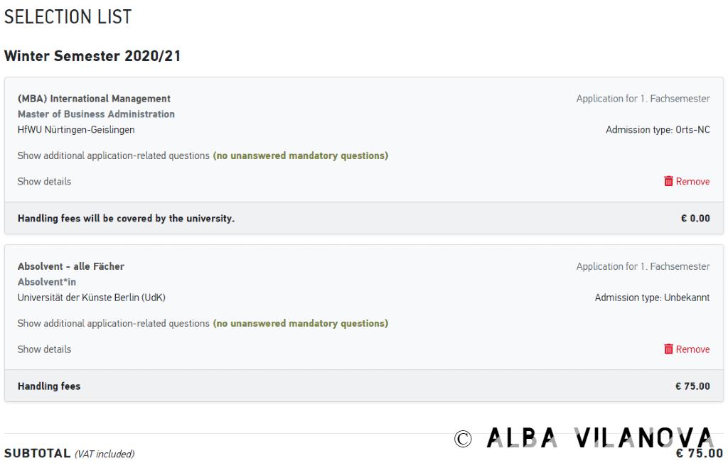 Un ejemplo de lista de selección de másteres en la web de Uni Assist e.V. - Alemania - Estudiar en el extranjero - Blog de Alba Vilanova